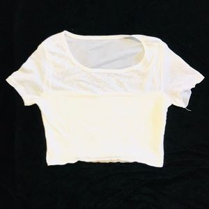Charlotte Russe White Mesh Crop Top XS